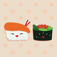 sushi cartoon vector