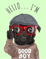 zwarte pug hond in trui cartoon afbeelding vector
