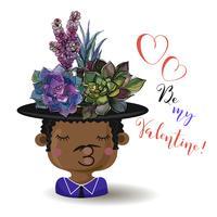 Fijne Valentijnsdag. Jongen met bloemen vetplanten. Waterverf. Vector.