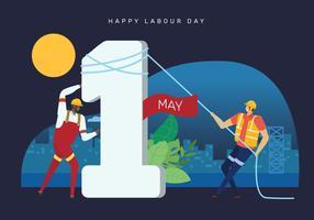 Vier het Concept van de Dag van de Arbeid Vectorillustratie vector