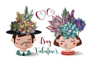 Fijne Valentijnsdag. Jongen en meisje met bloemen vetplanten. Waterverf.