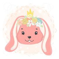 schattig konijntjesgezicht met bloemkroon en kroon in de lente vlak vectoridee voor kaart, voor het drukken geschikte jong geitjet-shirt vector
