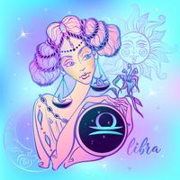Sterrenbeeld Weegschaal een mooi meisje. Horoscoop. Astrologie. Vector.