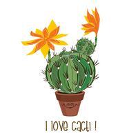 Ronde bloeiende cactus. Cactussen in een pot. Vector illustratie.