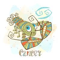 Kinder horoscoop pictogram. Zodiac voor kinderen. Kanker teken. Vector. Astrologisch symbool als stripfiguur.