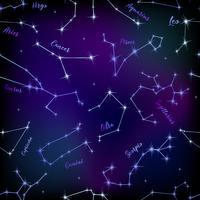 Naadloos patroon van sterrenbeelden. Dierenriem. Spase. Vector illustratie.