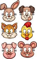 Cartoon dierlijke maskers vector