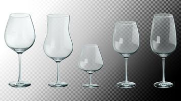 Set van realistische glazen. 3D-vectorillustratie