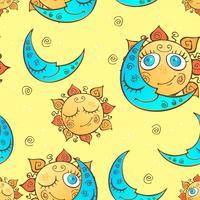 Naadloos patroon met zon en maan voor kinderen. Vector