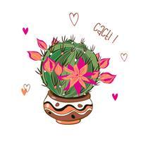 Cactus met een krans van bloemen. Cactussen in een pot. Vector illustratie.