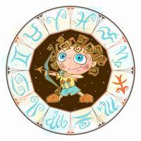Zodiac voor kinderen. Boogschutter. Leuke stijl. Vector.