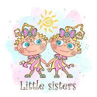 Twee kleine zussen. Tweelingzussen. Vector illustratie.