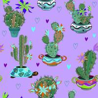 Bloeiende cactussen in grappige potten. Naadloos patroon. Vector. vector