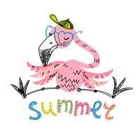 Grappige Flamingo met glazen en een pet. Zomermotieven. Vector.