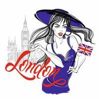 Meisjesmodel in een hoed op de achtergrond van de Big Ben in Londen. Belettering. Vector.