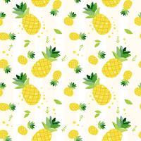 schattig hand tekenen doodle zomer ananas fruit patroon naadloze achtergrond