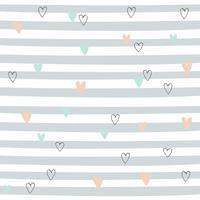 Gestreept naadloos patroon met harten. Leuk patroon met grijze strepen. Vector