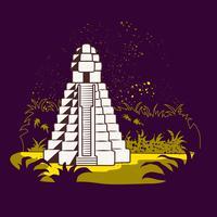 Tikal ruïnes van Guatemala in het bos vector