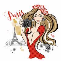 Meisjestoerist met een camera die beelden van aantrekkelijkheden in Parijs neemt. Reis. Eiffeltoren. Vector.