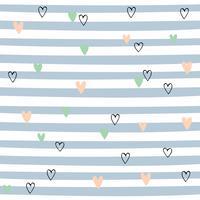 Gestreept naadloos patroon met harten. Leuk patroon met blauwe strepen. Vector