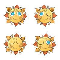 Een reeks vrolijke zonnen in beeldverhaalstijl. Vector illustratie.