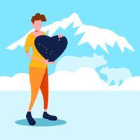 Een man met een alabama liefdesbord vector
