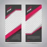 Roze zwarte Roll-up Banner sjabloon Mock Up
