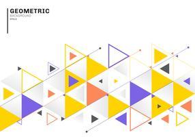 Abstract achtergrondmalplaatje met kleurrijke driehoeken en pijlen voor zaken en communicatie in vlakke stijl. Geometrisch patroon minimaal ontwerp.