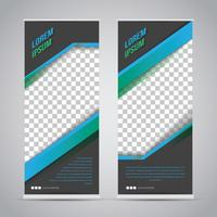 Blauwe zwarte Roll-up Banner sjabloon Mock Up
