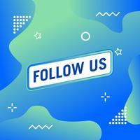 Volg ons tekst moderne ontwerpsjabloon. Blauwe en witte kleuren. Kleurrijke achtergrond