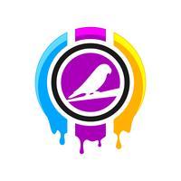 Logo ontwerp met digitale print vector