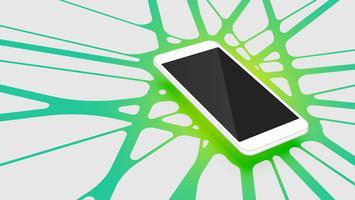 Realistische 3D-smartphone met kleurrijke abstracte achtergrond, vectorillustratie