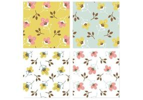 Retro Blossom Achtergrond Vector Pack