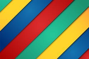 Realistische rode, groene, blauwe en gele vellen papier