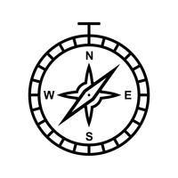 Kompaslijn zwart pictogram