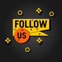Volg ons tekst moderne ontwerpsjabloon. Zwarte en gele kleuren. Zwarte achtergrond