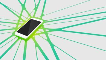 Realistische 3D-smartphone met kleurrijke abstracte achtergrond, vectorillustratie vector