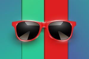 Kleurrijke vellen papieren met realistische zonnebril, vectorillustratie