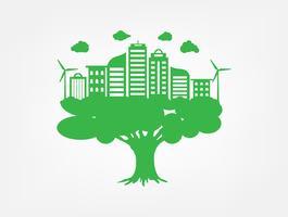 Groen gras en boom met milieuvriendelijk en ecologieconcept. Natuur Groene stad en Wereldmilieu.
