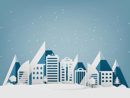 Vrolijk kerstfeest en een gelukkig nieuwjaar. De vakantiesneeuw van de winter in park bij cityscape achtergrond. papierkunst en ambachtelijke stijl. vector