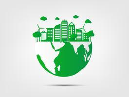 Groen gras en boom met milieuvriendelijk en ecologieconcept. Natuur Groene stad en Wereldmilieu. vector