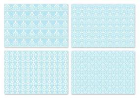 Winter blauwe damast Vector patroon Pack