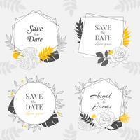 Hand getekend geel Floral Frame achtergrond collectie