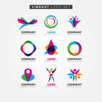 Kleurrijke levendige logo ingesteld teken symboolpictogram vector