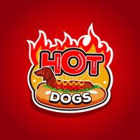 Hot Dogs Fire Logo Design-badge