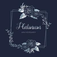 Bruiloft platina bloemen huwelijk verjaardag achtergrond vector