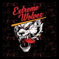 grunge stijl vintage boos gebrul wolf hand tekening vector