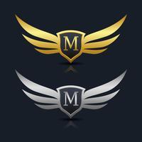 vleugels schild letter m logo sjabloon vector