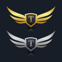 Wings Shield Letter T Logo sjabloon