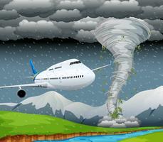 Vliegtuig in storm scène